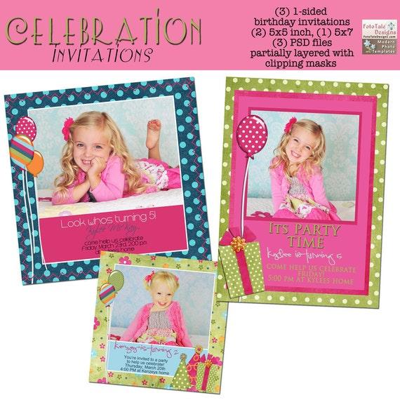 Celebration Birthday Invitation Set - Set of 3 custom photo templates