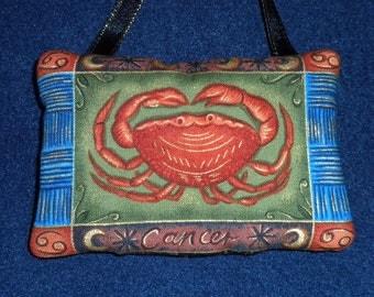 Zodiac Cancer Earthtone Fabric Astrology Astrological Pillow Hanger Ornament