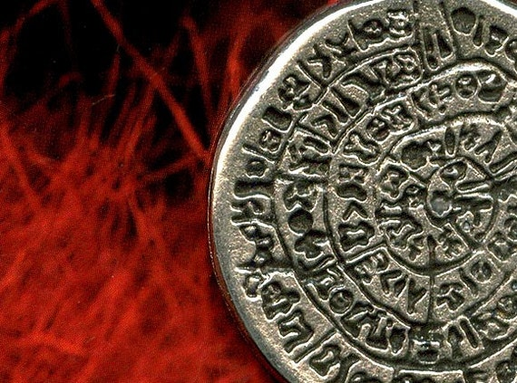 CLOSEOUT Sale The Mysterious Phaistos (Festos) Pendant Disk - Cast Pewter Pendant of Ancient Tablet labyrinth from Greece - CPDP1