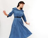 Clearance - Vintage 1950s Dress - 50s Day Dress - Slate Blue