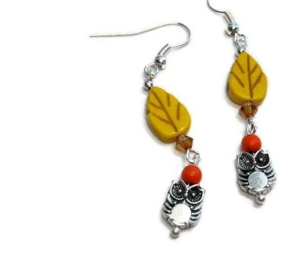Owl Dangle Earrings, Woodland, Yellow, Orange, Fall Autumn, Kawaii