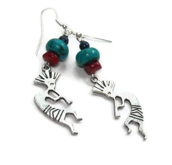 Kokopelli Earrings, Red Coral, Blue Lapis, American Turquoise, Southwest, Native American, Gemstone
