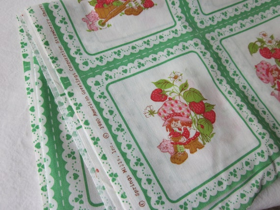 RESERVED ITEM - Vintage Strawberry Shortcake Fabric - Green and White