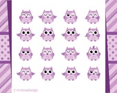 Cute Purple Owl - 16 Owls with 2 Patterned Paper