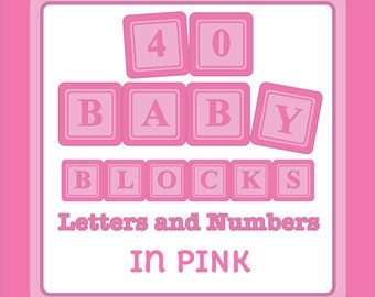 Baby Blocks Digital Clip Art - Letters and Numbers - in Pink