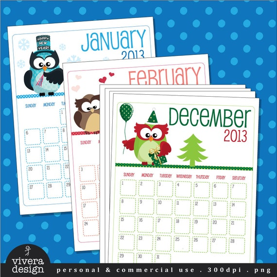 Calendar Monthly Themes : Printable january december monthly calendar with