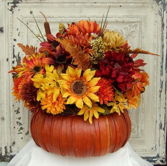 Fall floral arrangement thanksgiving centerpiece pumpkin