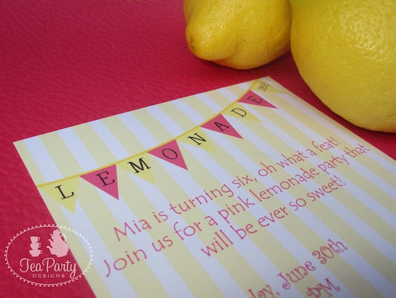 Lemonade Birthday Party Custom Invitations - Sweet Pink Lemonade Collection