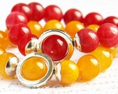 Bright Red Agate Bracelet. Sterling Silver Circle. Stacking Bracelet. Colorful Modern Bracelet TAGT