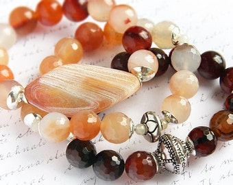 Boho Jewelry Gift Bohemian Jewelry Natural Agate Bracelet. Stackable Bracelet Statement Bracelet Sterling Silver Gemstone Beads Large Stone