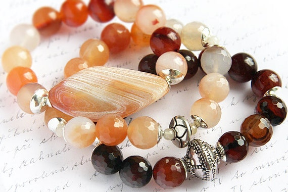 Bohemian Jewelry, Natural Agate Bracelet. Stackable Bracelet,  Statement Bracelet. Sterling Silver. Gemstone Beads. Large Geometric Stone
