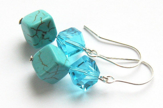Turquoise Jewelry, Modern Geometrical Blue Turquoise Earrings. Cubes. Sterling Silver. Winter Fashion. December Birthstone