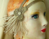astrid - art nouveau flapper headband with 1920s metallic trim, antique, hand beaded metallic lace and vintage feathers