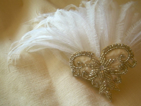 emilie - art deco bridal headpiece fascinator with silver  beadwork white  ostrich feathers