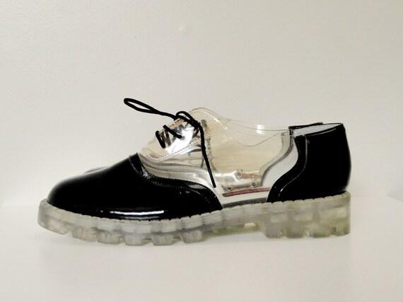 90s Vegan Clear and Black Platform Saddle Shoes Size 8 / 8.5