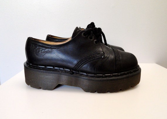 90s Black Leather Dr Martens Cap Toe Super Chunky Platform Creepers Size 6 / 6.5