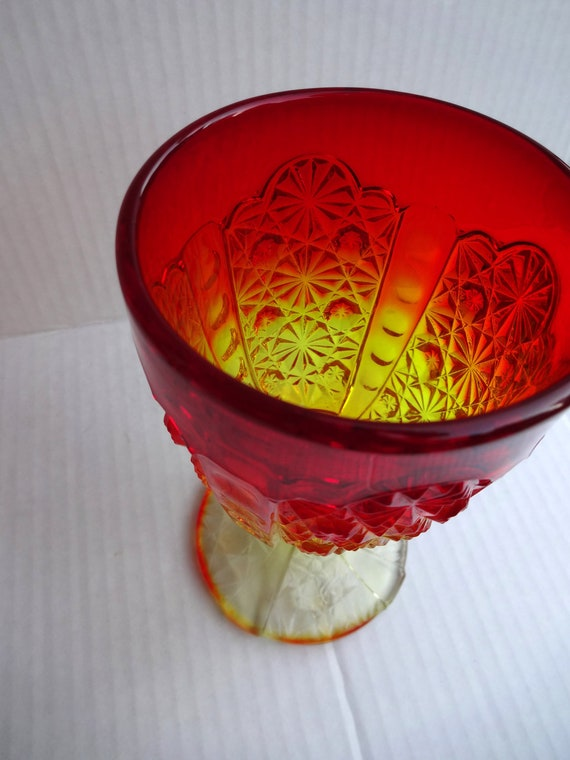 SALE - Between the Veils -  Reddish Orange Amberina Goblet - Goddess - perfect for ritual or altar.