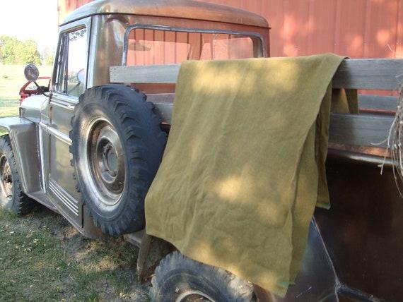 Vintage Wool Lap Blanket  Army Green Heavy