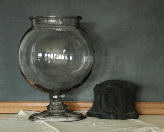 Antique Apothecary Glass Leech Jar
