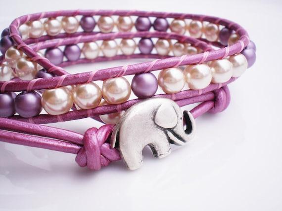 Dusty Pink Leather Wrap Bracelet with Elephant