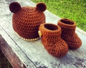 Baby Bear Hat and Booties Crochet Newborn (made to order)