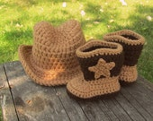 Baby Cowboy Hat and Booties - you choose the color (made to order)