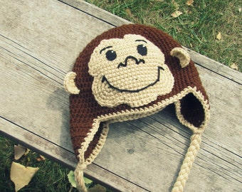 Curious George Monkey Hat Crochet Ear Flap (Newborn to Tween) MADE TO ORDER