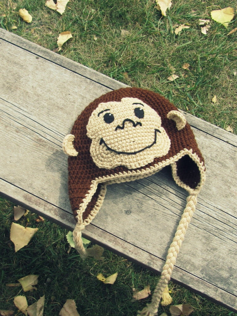 Curious george monkey hat crochet ear flap toddler to tween zoom bankloansurffo Images