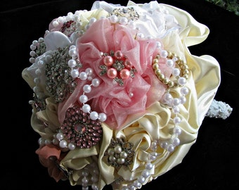 brooch jeweled  Bouquet of Pink, bush dusty rose, ivory tans, brooch  bridal bouquet, bridal wedding brooch bouquet