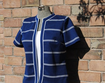 Vintage 1970's Nautical Shirt in Navy Blue with White Stripes