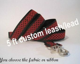 Custom dog leash, dog lead, 5 ft nylon leash, 5 foot nylon leash, You Choose the Pattern