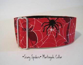 Halloween Martingale Collar, 2 Inch Martingale Collar, Halloween Dog Collar, Spider Dog Collar, Greyhound Martingale Dog Collar