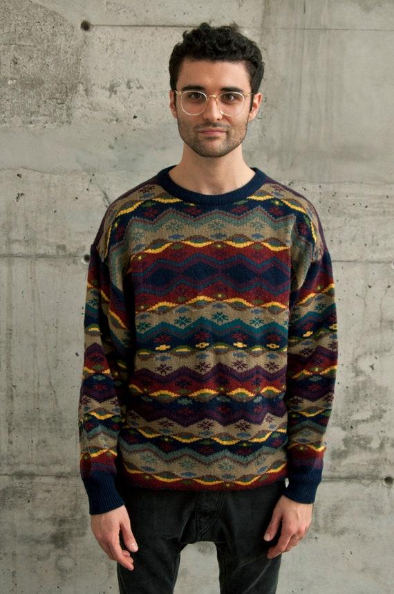 Aztec Pattern Sweater Vintage Mens Sweater Oversized