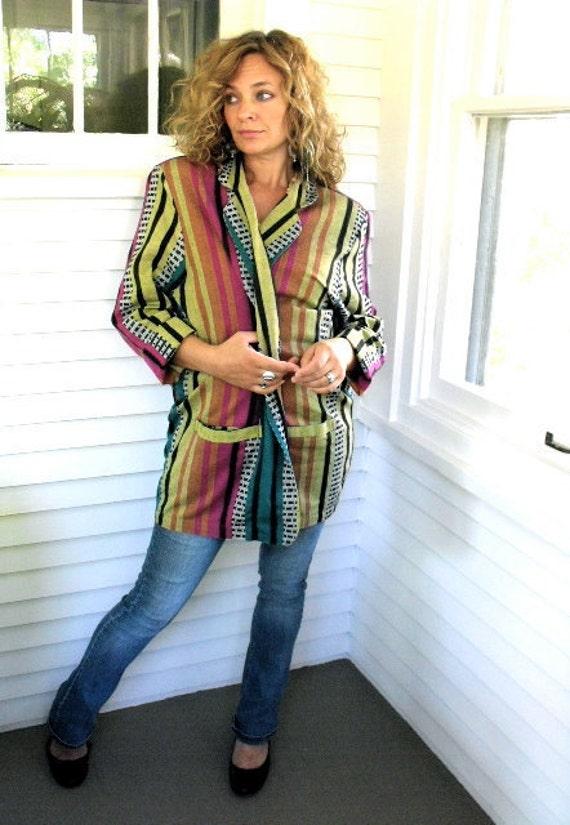 VINTAGE JACKET, boxy blazer, cosby style,  woven cotton ,tribal stripe, shoulder padded, lightweight size L,  by Zasra
