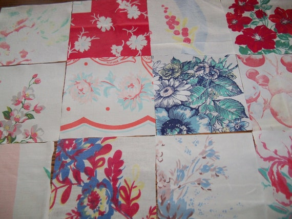 Vintage Tablecloth Scrap Pack-Quilt Squares-FRUIT & FLORAL-Quilt-Pillow-Tote-Bunting-6inch