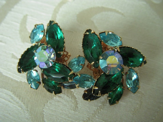 Vintage Emerald Green and Turquoise Aqua Rhinestone Earrings