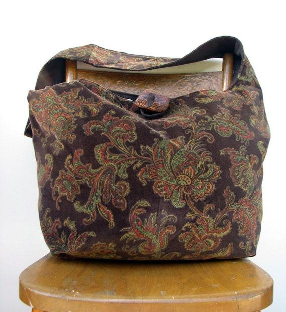 HIPPIE BAG Crossbody Bag Slouch Bag Bohemian Bag Cross Body Bag Crossbody Hobo Bag Hobo Purse Handmade Bag Paisley Bag Hippie Purse
