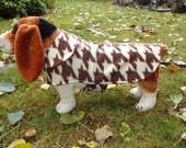 Dog Coat - Brown and Cream Houndstooth Coat- Size Medium- 16 to 18 Inch Back Length - Or Custom Size