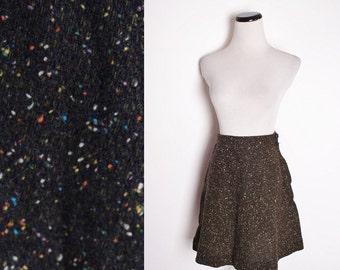 Vintage  Mod Short Mini Skirt / Fall Fashion / Rustic Autumn / Astral / Galaxy / Speckled / Brown Skirt / Cosmos / 1314