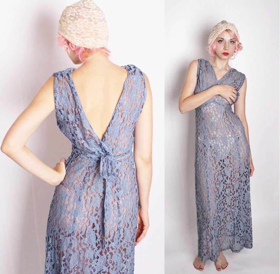 Art Deco Vintage 1930s Dove Blue Gray Grecian Goddess Dress