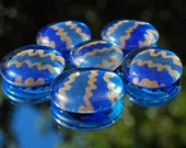 Sapphire Stripes - Set of 6 SUPER Strong Hand Painted Glass Magnets - Upcycled, Recycled, Repurposed