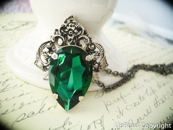Aglaia--Swarovski x-large emerald pear crystal, antique sterling silver plated brass fantasy neo Victorian necklace, all soldered