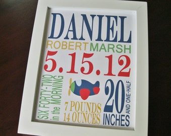 Children Nursery Decor Wall Art Baby Boy Birth Print Airplane 8 x 10 DANIEL