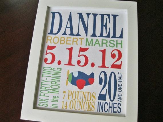 Children Nursery Decor Wall Art Baby Boy Birth Print Airplane 8 x 10 DANIEL