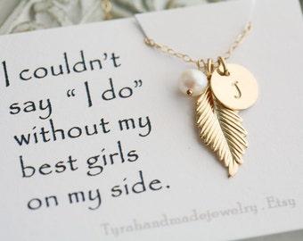 Gold Feather Necklace,Initial necklace,Custom monogram birthstone,Fall Wedding,Bridesmaid gifts,Wedding,Birthday gift,custom message card