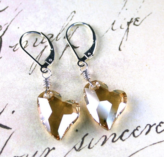 Champagne Hearts - Swarovski Devoted 2 U Crystal Heart Earrings - Swarovski Crystal and Sterling Silver - Free US Shipping