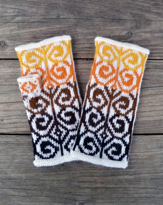 Wool Arm Warmers - Hand-knit Fingerless Gloves- Yellow and Brown Fingerless Mittens - Fall Accesories  nO 68.