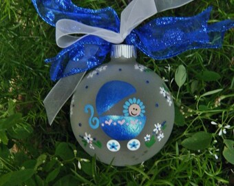 Personalized Baby Boy Ornament - Newborn, Handpainted Keepsake Glass Bauble Christmas Ornament, Baby's First Christmas, Blue, Gender Reveal