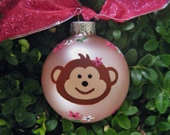 Personalized Birthday Monkey Ornament - Jungle Birthday, Personalized for Nursery, Birthday or Christmas - Hand Painted Glass Ball Ornament