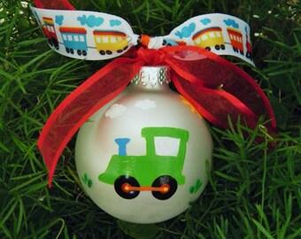 GREEN Train Ornament, Personalized Baby's First Christmas Ornament, Hand Painted, Train Birthday Party, Choo Choo Train Nursery, Train Decor